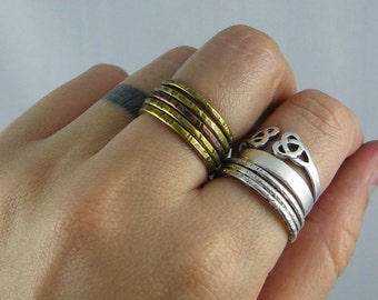 Mixed Metal Stacking Rings - Set of 4 Brass and 1 Copper