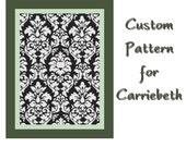 "CUSTOM for CARRIEBETH - 5"" x 7"" Black & White Damask Cross Stitch Pattern"