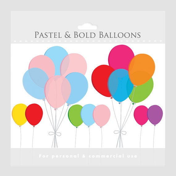 Balloons clipart - pastel balloons, colored balloons, balloon cluster bouquet, party balloons clipart for commercial and personal use