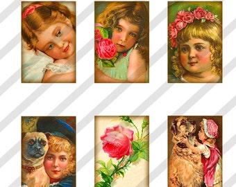 Digital Collage Sheet 1x1.5 inch Charms Vintage Children Images (Sheet no. O32) Instant Download