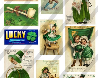 Digital Collage Sheet Vintage St. Patrick Postcard Images (Sheet no. O20) Instant Download