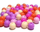 8mm Smooth Round Acrylic Beads Creamsicle mix 100pcs
