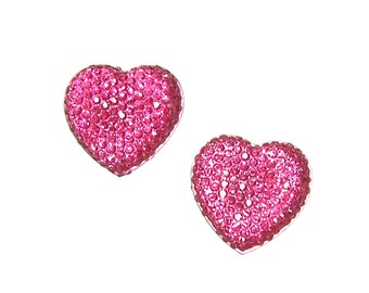 Faceted Pink color heart cabochon 24mm  2pcs