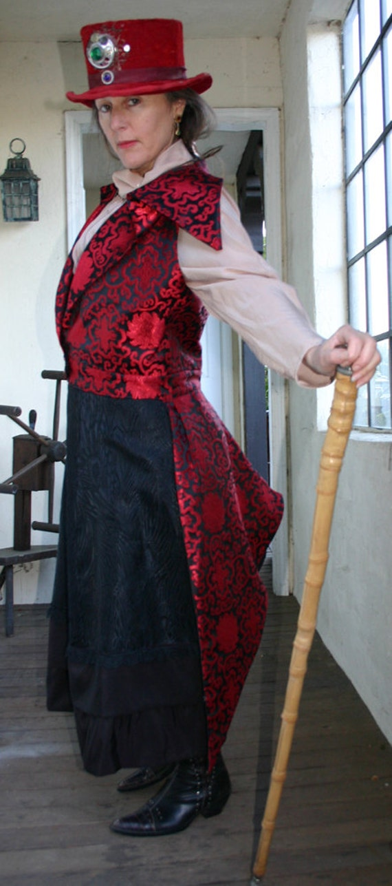 Women's 1895-style Steampunk Red and Black SIlk Brocade Outer Great Vest
