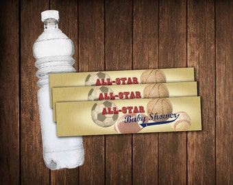 Baseball Themed Baby Shower Water Bottle Wrappers - instant download