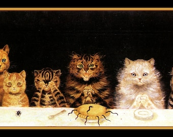 Cats Sitting Down to DinnerRefrigerator Magnet
