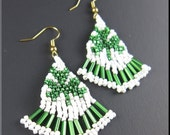 CLEARANCE SALE! St Patty's Holiday Beadwork Seed Bead Earrings Luck of the Irish Clover