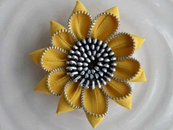 Yellow  Sunflower Recycled Vintage Flower Brooch or Hair Clip
