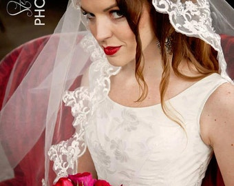 Alencon Lace Swarovski Crystal and pearl embellished Mantilla Cathedral Veil  CRBoggs Original