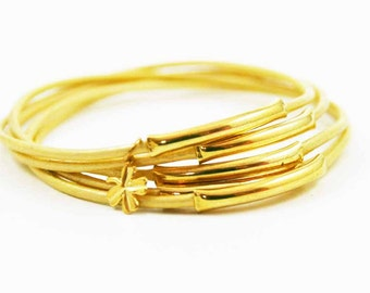 Gold Leather Bangles with Gold Four Leaf Clover Charm, Lucky Bangles, Boho Chic Bracelets, Sundance Jewelry
