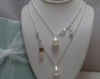 Large Genuine Pearl Bridesmaid Necklace custom made with Your Personal Wedding Colors Charm