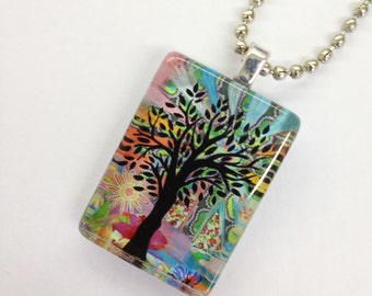 One Tree Glass Pendant with Chain--Silhouette tree jewelry
