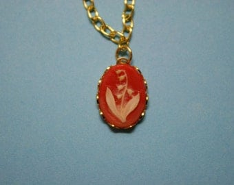 Tiny Red Bellflower Cameo Necklace
