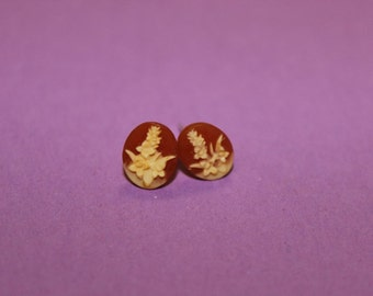 Tiny Red Lavender Flower Cameo Earrings