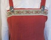 2 Piece Set Custom Trimmed Linen Viking Apron and Under Dress  SCA LARP Pennsic Norse