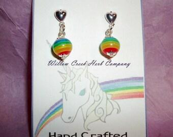 Dainty Heart Post LGBT/GLBT Rainbow Earrings