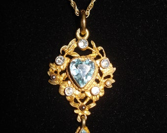 Vintage Gold Filled Heart Necklace Pendant Pendant Aquamarine Stone Filegree Drop