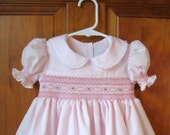 Baby, infant, girl, toddler hand smocked dress, pink, size 12Months/1T, ready to ship
