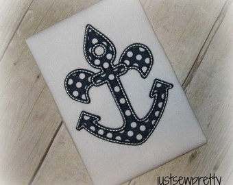 Fleur De Lis Anchor Summer Embroidery Applique Design