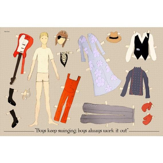 The David Bowie paper doll 18x12 inches print
