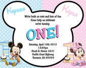Baby Mickey Mouse & Baby Minnie Mouse Twins 1st Birthday Invitations