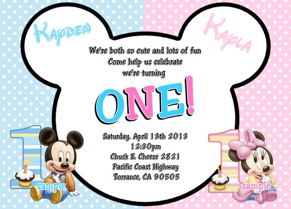 Baby Mickey Mouse & Baby Minnie Mouse Twins 1st Birthday