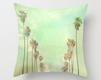pillow cover, Los Angeles home decor, LA throw pillow mint green, palm trees California style home, bedroom, 16x16 18x18