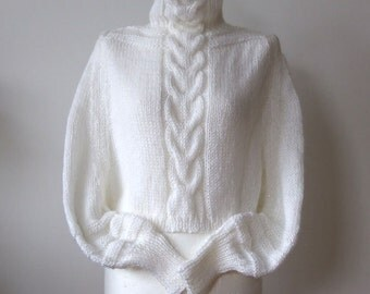 Braided wedding shrug CAPE poncho, cabled shrug with sleeves avant garde hand knitted in snow white, winter wedding shrug, ready to ship