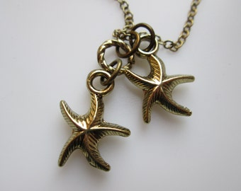 Starfish Charm Necklace in Antique Gold Finish, Beach Themed Jewelry, Summer Accessory