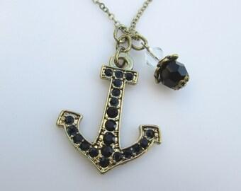 Anchor Necklace, Anchor Charm Necklace, Antique Gold Anchor Pendant Necklace