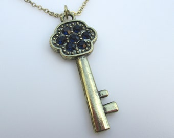 Sapphire Blue Skeleton Key Necklace, Key Pendant with Crystals