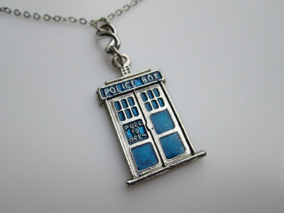 Tardis Necklace, Doctor Who Necklace, Inspired by Doctor Who Series, Police Box Charm, Police Box Necklace