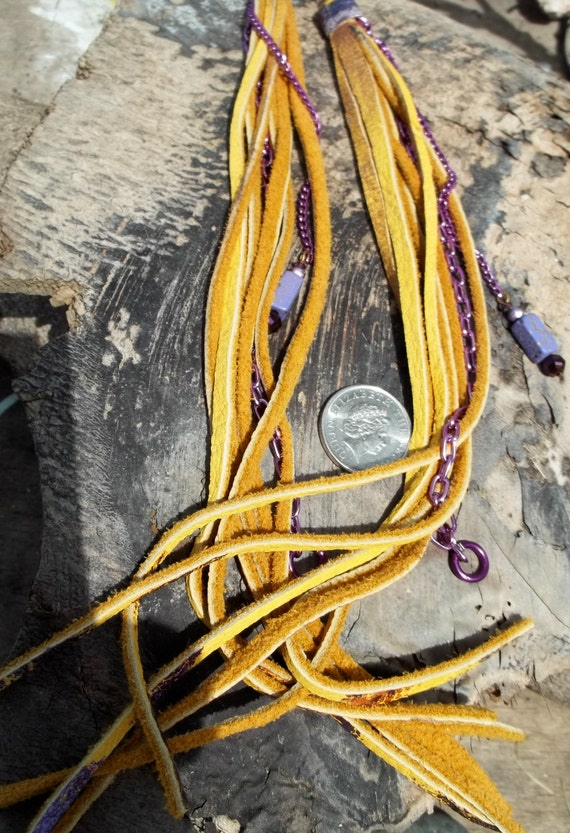 Yellow Leather Purple Chain Shoulder Dusters.