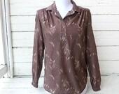 Vintage 1970s Joren of San Francisco - Brown Harvest Shirt / Sz M-L