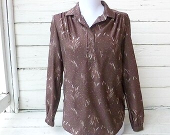 Vintage 1970s Joren of San Francisco - Brown Harvest Shirt / Sz M-L