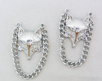 Pair of Silver-tone Fox Head Charms with Chains