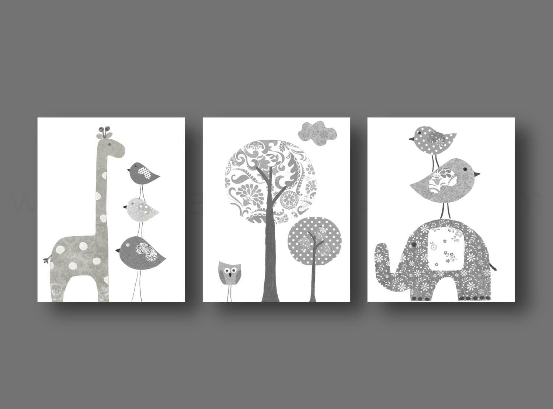 White Nursery Wall Decor : White gray nursery wall art baby gender neutral