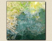 "Contemporary art abstract giclee canvas print with gallery wrap, 24x24 to 36x36 in blue, green and aqua, from abstract painting ""Sea Side"""