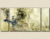 """Oversize triptych abstract expressionism art gallery wrap canvas print, 30x60 to 40x78 in titanium, from abstract painting """"Stone Creek"""""""