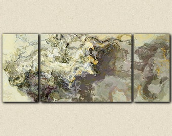 "Very large wall art triptych abstract art canvas print, 30x72 to 40x90 giclee, in neutral tones, from abstract painting ""Sugarloaf"""