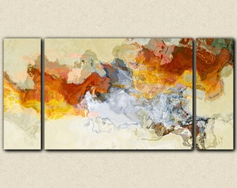 "Abstract expressionism canvas print, 30x60 to 40x78 gallery wrap triptych in orange, red and white, from abstract painting ""Arabesques"""