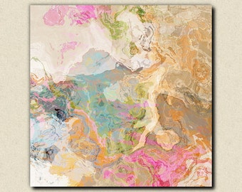 "Large abstract expressionism stretched canvas print, 30x30 to 36x36 in pastels, from abstract painting ""Dreamgirl"""