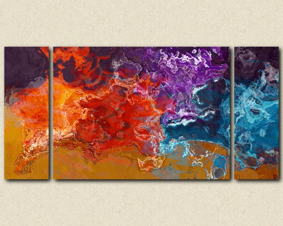 "Large triptych abstract canvas print with gallery wrap, 30x60 to 40x78 in orange, purple and aqua, from abstract painting ""Primary Colors"""