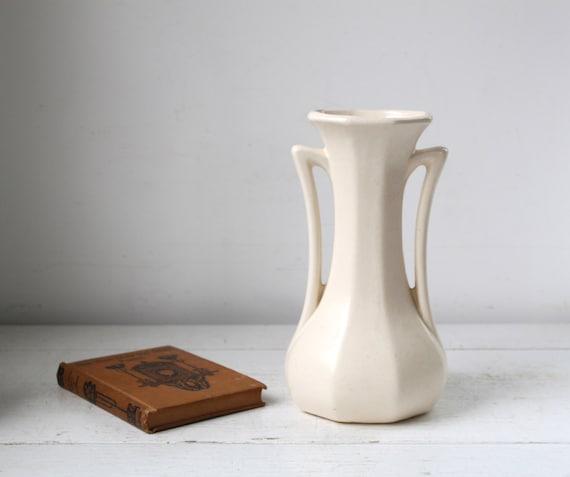 Vintage 1930s White Vase. Ceramic Two Handled Flower Vase. Art