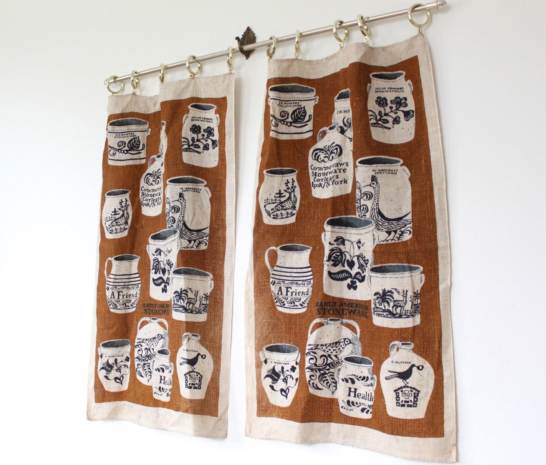 Vintage Cafe Curtains 1960s Kitchen Curtains Burlap Linen