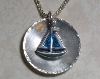 Sailboat Necklace - Domed Sterling Silver Sailboat with Blue Cubic Zirconia Charm Necklace - Silver Sailboat Necklace