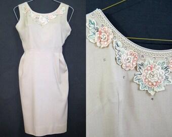 50s 60s Dress Vintage Wiggle Dress Rhinestones Pearls Floral Summer Linen M