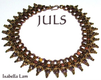 JULS CzechMates Swarovski crystals and SuperDuo Beadwork Necklace tutorial instructions for personal use only