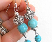 Turquoise drop earrings with silver, gypsy jewelry