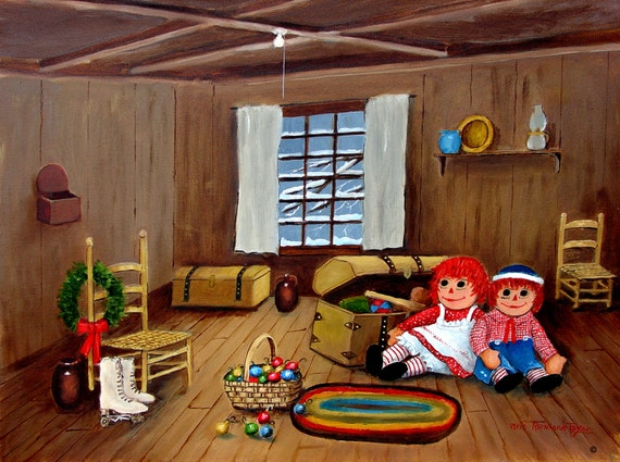 Folk Art Original Painting Art Print Raggedy Ann Andy Attic Ice Skates Old Trunk by Arie Taylor